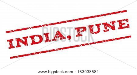 India Pune watermark stamp. Text tag between parallel lines with grunge design style. Rubber seal stamp with scratched texture. Vector red color ink imprint on a white background.