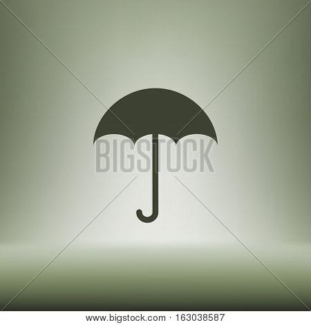 Flat Paper Cut Style Icon Of Umbrella
