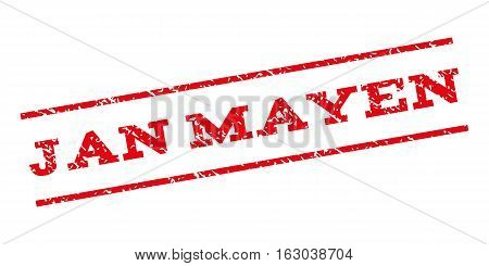 Jan Mayen watermark stamp. Text tag between parallel lines with grunge design style. Rubber seal stamp with scratched texture. Vector red color ink imprint on a white background.