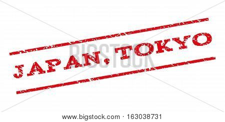 Japan Tokyo watermark stamp. Text tag between parallel lines with grunge design style. Rubber seal stamp with dust texture. Vector red color ink imprint on a white background.