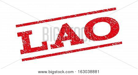 Lao watermark stamp. Text caption between parallel lines with grunge design style. Rubber seal stamp with unclean texture. Vector red color ink imprint on a white background.