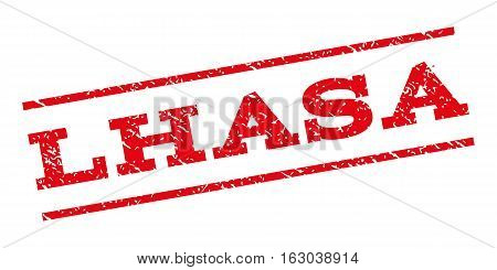 Lhasa watermark stamp. Text caption between parallel lines with grunge design style. Rubber seal stamp with dirty texture. Vector red color ink imprint on a white background.