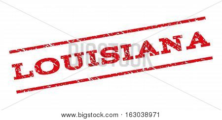 Louisiana watermark stamp. Text tag between parallel lines with grunge design style. Rubber seal stamp with dirty texture. Vector red color ink imprint on a white background.