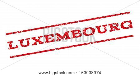 Luxembourg watermark stamp. Text tag between parallel lines with grunge design style. Rubber seal stamp with unclean texture. Vector red color ink imprint on a white background.