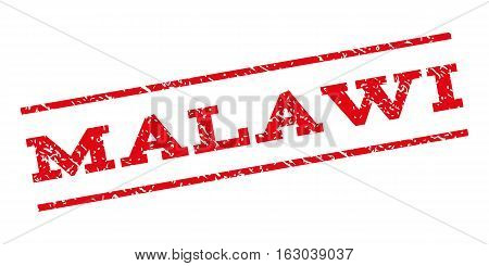 Malawi watermark stamp. Text caption between parallel lines with grunge design style. Rubber seal stamp with dirty texture. Vector red color ink imprint on a white background.