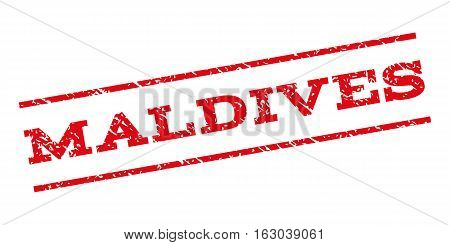 Maldives watermark stamp. Text caption between parallel lines with grunge design style. Rubber seal stamp with dust texture. Vector red color ink imprint on a white background.