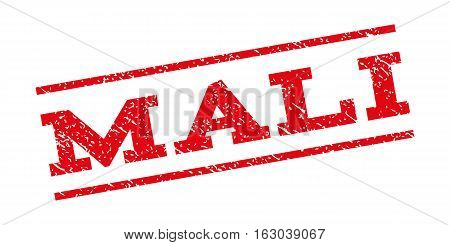Mali watermark stamp. Text tag between parallel lines with grunge design style. Rubber seal stamp with scratched texture. Vector red color ink imprint on a white background.