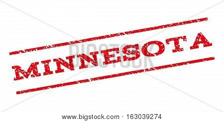 Minnesota watermark stamp. Text tag between parallel lines with grunge design style. Rubber seal stamp with scratched texture. Vector red color ink imprint on a white background.