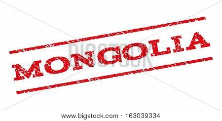 Mongolia watermark stamp. Text caption between parallel lines with grunge design style. Rubber seal stamp with scratched texture. Vector red color ink imprint on a white background.