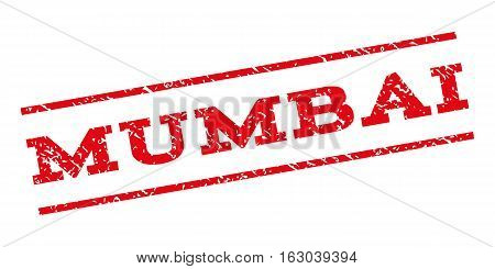 Mumbai watermark stamp. Text caption between parallel lines with grunge design style. Rubber seal stamp with dust texture. Vector red color ink imprint on a white background.