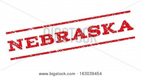 Nebraska watermark stamp. Text caption between parallel lines with grunge design style. Rubber seal stamp with dirty texture. Vector red color ink imprint on a white background.