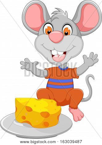 funny mouse cartoon eating cheese on plat