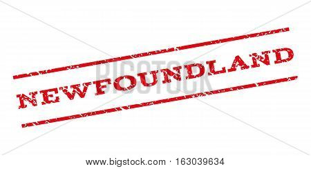 Newfoundland watermark stamp. Text caption between parallel lines with grunge design style. Rubber seal stamp with scratched texture. Vector red color ink imprint on a white background.