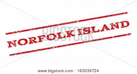 Norfolk Island watermark stamp. Text caption between parallel lines with grunge design style. Rubber seal stamp with scratched texture. Vector red color ink imprint on a white background.