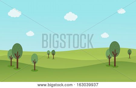 Nature landscape background vector flat collection stock