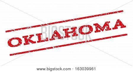 Oklahoma watermark stamp. Text tag between parallel lines with grunge design style. Rubber seal stamp with dust texture. Vector red color ink imprint on a white background.