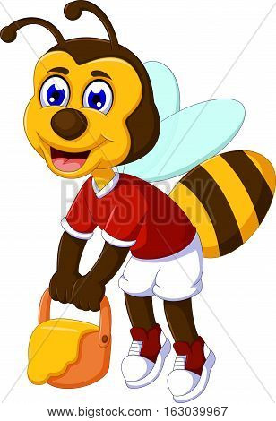 funny bee cartoon carrying honey for you design
