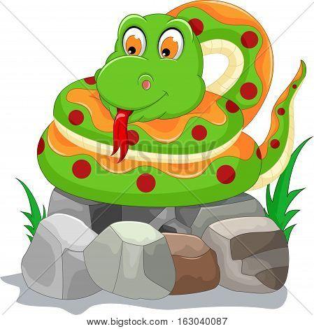 cute snake cartoon posing on the stone