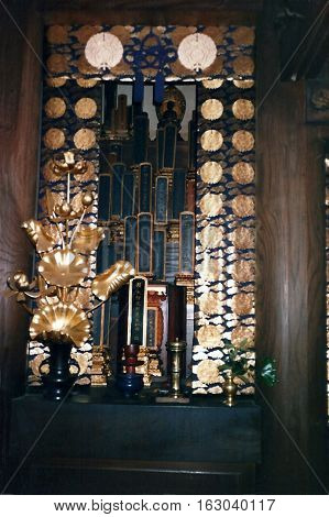 NARITA, CHIBA / JAPAN - CIRCA NOVEMBER, 1987:  An altar inside the Narita-san  Shinshō-ji Shingon Buddhist temple in Narita, Japan.