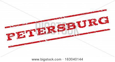 Petersburg watermark stamp. Text caption between parallel lines with grunge design style. Rubber seal stamp with dust texture. Vector red color ink imprint on a white background.