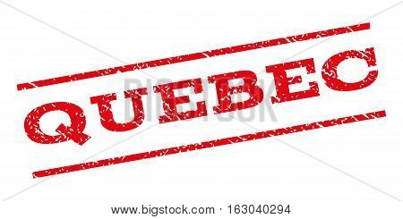Quebec watermark stamp. Text caption between parallel lines with grunge design style. Rubber seal stamp with scratched texture. Vector red color ink imprint on a white background.
