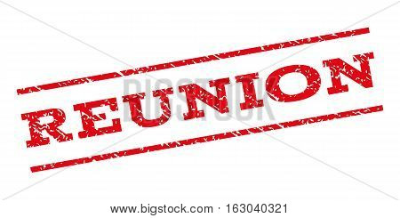 Reunion watermark stamp. Text caption between parallel lines with grunge design style. Rubber seal stamp with unclean texture. Vector red color ink imprint on a white background.