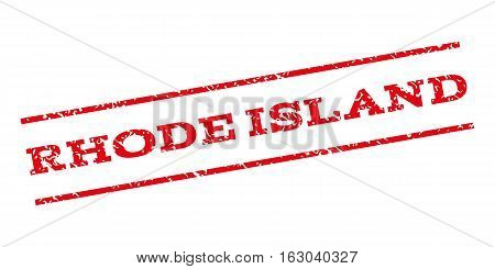 Rhode Island watermark stamp. Text caption between parallel lines with grunge design style. Rubber seal stamp with scratched texture. Vector red color ink imprint on a white background.