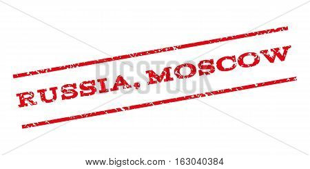 Russia Moscow watermark stamp. Text caption between parallel lines with grunge design style. Rubber seal stamp with dirty texture. Vector red color ink imprint on a white background.