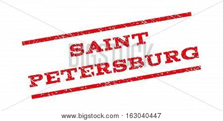Saint Petersburg watermark stamp. Text tag between parallel lines with grunge design style. Rubber seal stamp with scratched texture. Vector red color ink imprint on a white background.