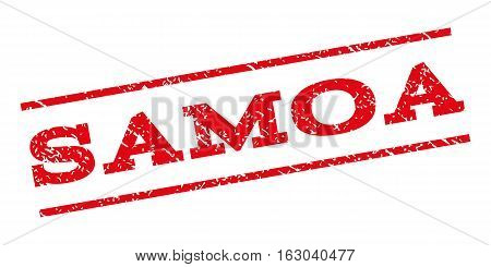 Samoa watermark stamp. Text caption between parallel lines with grunge design style. Rubber seal stamp with unclean texture. Vector red color ink imprint on a white background.