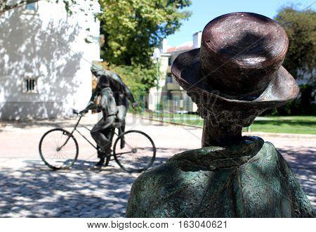 Sculptures in Fernando Pessoa's Garden, Lisbon, Portugal
