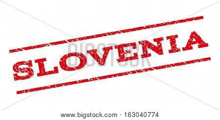 Slovenia watermark stamp. Text caption between parallel lines with grunge design style. Rubber seal stamp with dust texture. Vector red color ink imprint on a white background.