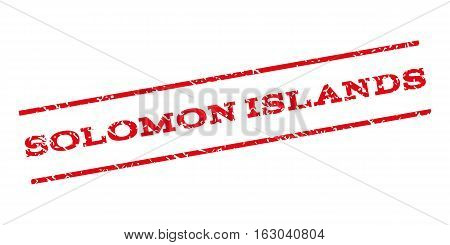 Solomon Islands watermark stamp. Text tag between parallel lines with grunge design style. Rubber seal stamp with unclean texture. Vector red color ink imprint on a white background.