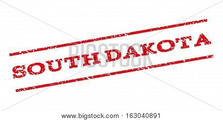 South Dakota watermark stamp. Text tag between parallel lines with grunge design style. Rubber seal stamp with dust texture. Vector red color ink imprint on a white background.
