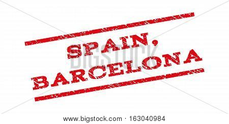 Spain Barcelona watermark stamp. Text caption between parallel lines with grunge design style. Rubber seal stamp with unclean texture. Vector red color ink imprint on a white background.