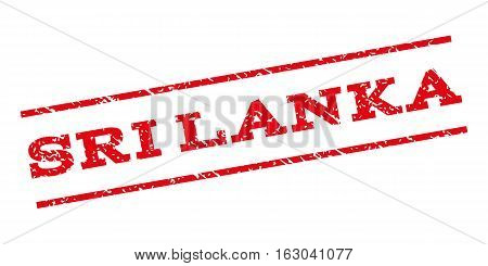 Sri Lanka watermark stamp. Text tag between parallel lines with grunge design style. Rubber seal stamp with dirty texture. Vector red color ink imprint on a white background.