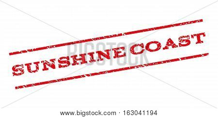 Sunshine Coast watermark stamp. Text tag between parallel lines with grunge design style. Rubber seal stamp with dirty texture. Vector red color ink imprint on a white background.