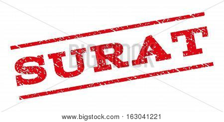 Surat watermark stamp. Text tag between parallel lines with grunge design style. Rubber seal stamp with scratched texture. Vector red color ink imprint on a white background.