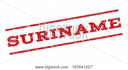 Suriname watermark stamp. Text caption between parallel lines with grunge design style. Rubber seal stamp with dust texture. Vector red color ink imprint on a white background.