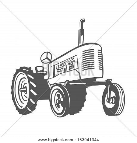 Farm Tractor Monochrome Design Isolated. Vector Illustration