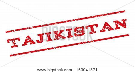 Tajikistan watermark stamp. Text tag between parallel lines with grunge design style. Rubber seal stamp with unclean texture. Vector red color ink imprint on a white background.