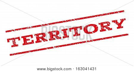 Territory watermark stamp. Text caption between parallel lines with grunge design style. Rubber seal stamp with unclean texture. Vector red color ink imprint on a white background.