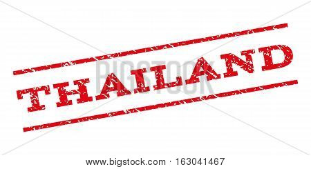 Thailand watermark stamp. Text caption between parallel lines with grunge design style. Rubber seal stamp with unclean texture. Vector red color ink imprint on a white background.
