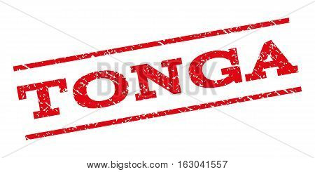 Tonga watermark stamp. Text caption between parallel lines with grunge design style. Rubber seal stamp with unclean texture. Vector red color ink imprint on a white background.