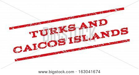 Turks And Caicos Islands watermark stamp. Text tag between parallel lines with grunge design style. Rubber seal stamp with dust texture. Vector red color ink imprint on a white background.