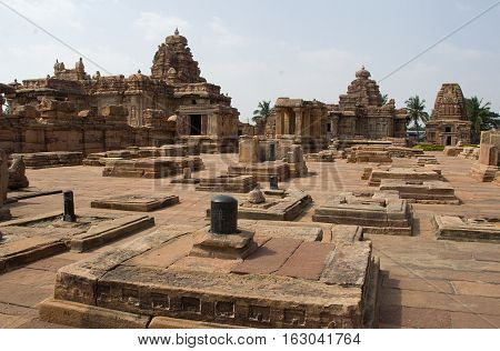 An array of Saiva Temples some of the in dilated condition at Pattadakal Bagalkot District Karnataka India Asia
