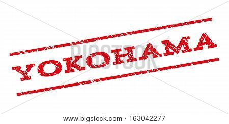 Yokohama watermark stamp. Text caption between parallel lines with grunge design style. Rubber seal stamp with unclean texture. Vector red color ink imprint on a white background.