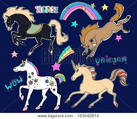 Cute embroidery patches and stickers collection.Hand drawn vector sketches. Horses and Unicorn magic stars rainbow.