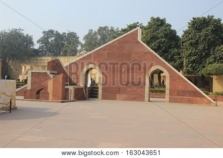 One of the five open-air observatories Jantar Mantar built by king Sawai Jai Singh II at Jaipur Rajasthan India Asia