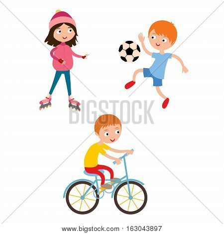 Young child boy and girl playing football vector illustration. Active sport roller and soccer game. Competition youth activity kid, play activity lifestyle character.
